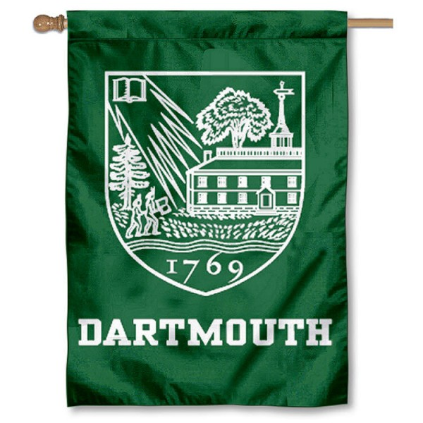Dartmouth College House Flag is a vertical house flag which measures 28x40 inches, is made of 2 ply 100% nylon, offers dye sublimated NCAA team insignias, and has a top pole sleeve to hang vertically. Our Dartmouth College House Flag is officially licensed by the selected university and the NCAA