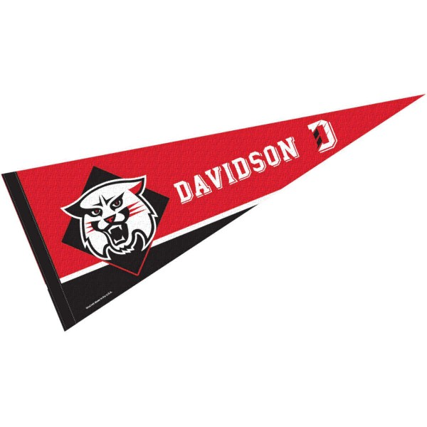 Davidson College Pennant consists of our full size sports pennant which measures 12x30 inches, is constructed of felt, is single sided imprinted, and offers a pennant sleeve for insertion of a pennant stick, if desired. This Davidson College Felt Pennant is officially licensed by the selected university and the NCAA.
