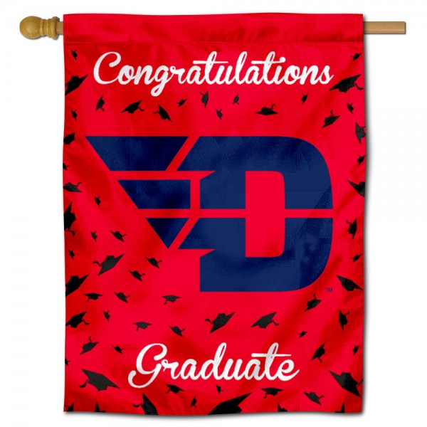 Dayton Flyers Congratulations Graduate Flag measures 30x40 inches, is made of poly, has a top hanging sleeve, and offers dye sublimated Dayton Flyers logos. This Decorative Dayton Flyers Congratulations Graduate House Flag is officially licensed by the NCAA.