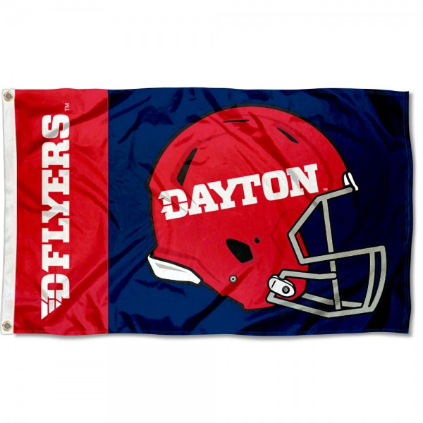 Dayton Flyers Football Helmet Flag measures 3x5 feet, is made of 100% polyester, offers quadruple stitched flyends, has two metal grommets, and offers screen printed NCAA team logos and insignias. Our Dayton Flyers Football Helmet Flag is officially licensed by the selected university and NCAA.