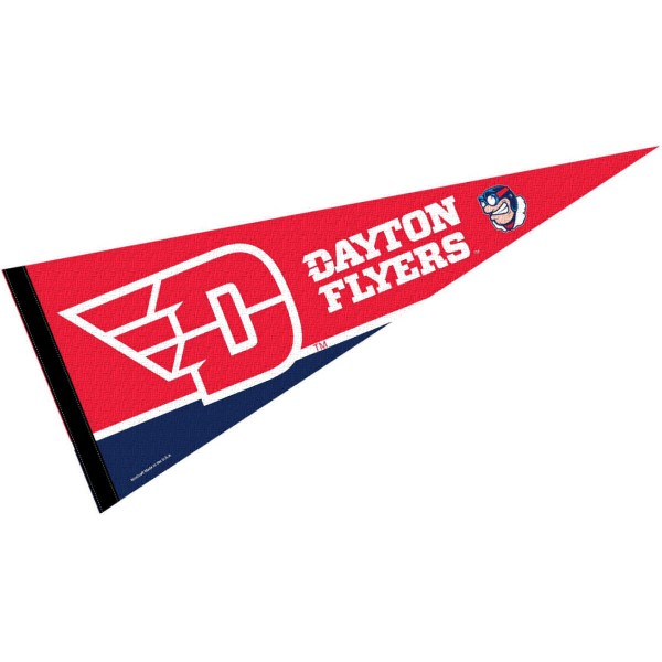 Dayton Flyers New Logo Pennant consists of our full size sports pennant which measures 12x30 inches, is constructed of felt, is single sided imprinted, and offers a pennant sleeve for insertion of a pennant stick, if desired. This Dayton Flyers Pennant Decorations is Officially Licensed by the selected university and the NCAA.