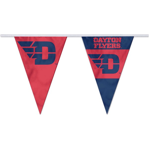 Dayton Flyers Pennant String Flags are 35 feet in total length, are made of polyester, includes 12x8 inch streamers, and are screen printed. Each is Offically Licensed.