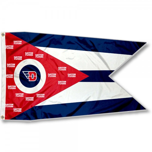 Dayton Flyers State of Ohio Flag measures 3x5 feet, is made of 100% polyester, offers quadruple stitched flyends, has two metal grommets, and offers screen printed NCAA team logos and insignias. Our Dayton Flyers State of Ohio Flag is officially licensed by the selected university and NCAA.