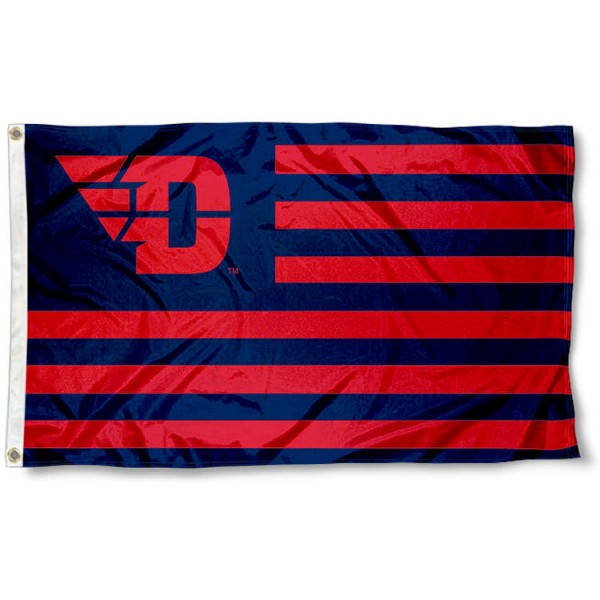 Dayton Flyers Stripes Flag measures 3'x5', is made of polyester, offers double stitched flyends for durability, has two metal grommets, and is viewable from both sides with a reverse image on the opposite side. Our Dayton Flyers Stripes Flag is officially licensed by the selected school university and the NCAA.