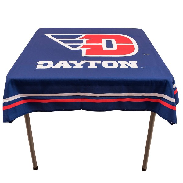 Dayton Flyers Table Cloth measures 48 x 48 inches, is made of 100% Polyester, seamless one-piece construction, and is perfect for any tailgating table, card table, or wedding table overlay. Each includes Officially Licensed Logos and Insignias.