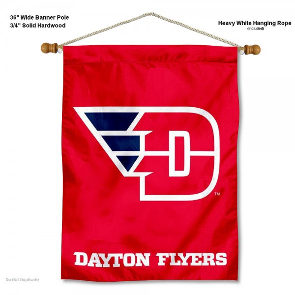 "Dayton Flyers Wall Banner is constructed of polyester material, measures a large 30""x40"", offers screen printed athletic logos, and includes a sturdy 3/4"" diameter and 36"" wide banner pole and hanging cord. Our Dayton Flyers Wall Banner is Officially Licensed by the selected college and NCAA."
