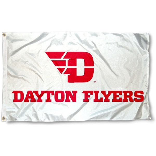 Dayton Flyers White Flag measures 3'x5', is made of 100% poly, has quadruple stitched sewing, two metal grommets, and has double sided Team University logos. Our UD Flyers 3x5 Flag is officially licensed by the selected university and the NCAA.