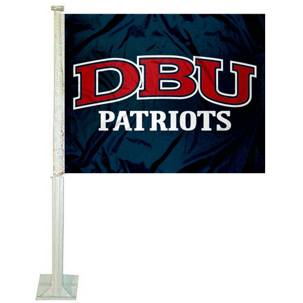 DBU Patriots Logo Car Flag measures 12x15 inches, is constructed of sturdy 2 ply polyester, and has screen printed school logos which are readable and viewable correctly on both sides. DBU Patriots Logo Car Flag is officially licensed by the NCAA and selected university.