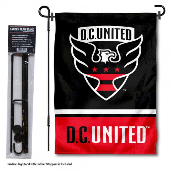 """DC United Garden Flag and Flagpole Stand kit includes our 12.5""""x18"""" garden banner which is made of 2 ply poly with liner and has screen printed licensed logos. Also, a 40""""x17"""" inch garden flag stand is included so your DC United Garden Flag and Flagpole Stand is ready to be displayed with no tools needed for setup. Fast Overnight Shipping is offered and the flag is Officially Licensed and Approved by the selected team."""