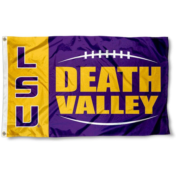 Death Valley LSU Tigers Flag measures 3'x5', is made of 100% poly, has quadruple stitched sewing, two metal grommets, and has double sided Louisiana State University logos. Our Death Valley LSU Tigers Flag is officially licensed by Louisiana State University and the NCAA.