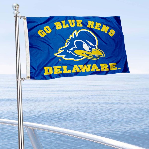 Delaware Blue Hens Boat and Mini Flag is 12x18 inches, polyester, offers quadruple stitched flyends for durability, has two metal grommets, and is double sided. Our mini flags for University of Delaware are licensed by the university and NCAA and can be used as a boat flag, motorcycle flag, golf cart flag, or ATV flag.