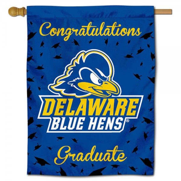 Delaware Blue Hens Congratulations Graduate Flag measures 30x40 inches, is made of poly, has a top hanging sleeve, and offers dye sublimated Delaware Blue Hens logos. This Decorative Delaware Blue Hens Congratulations Graduate House Flag is officially licensed by the NCAA.