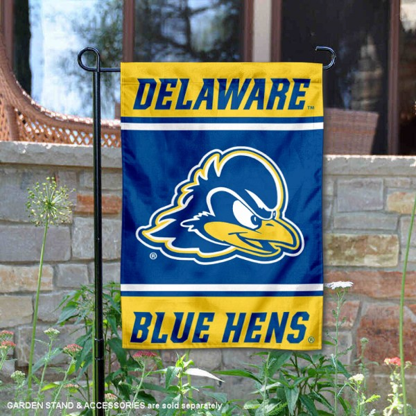 Delaware Blue Hens Garden Flag is 13x18 inches in size, is made of 2-layer polyester, screen printed logos and lettering. Available with Same Day Express Shipping, Our Delaware Blue Hens Garden Flag is officially licensed and approved by the NCAA.