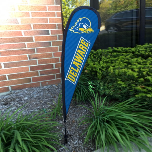 Delaware Blue Hens Small Feather Flag measures a 4' tall when fully assembled and roughly 1' wide. The kit includes a Feather Flag, 2 Piece Fiberglass Pole, pole connector, and matching Ground Stake. Our Delaware Blue Hens Small Feather Flag easily assembles and is NCAA Officially Licensed by the selected school or university.