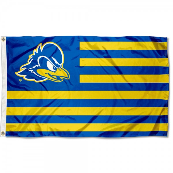 Delaware Blue Hens Stripes Flag measures 3'x5', is made of polyester, offers double stitched flyends for durability, has two metal grommets, and is viewable from both sides with a reverse image on the opposite side. Our Delaware Blue Hens Stripes Flag is officially licensed by the selected school university and the NCAA.