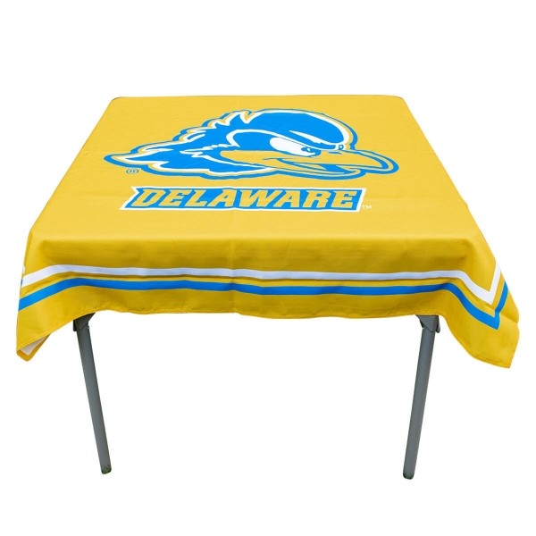 Delaware Blue Hens Table Cloth measures 48 x 48 inches, is made of 100% Polyester, seamless one-piece construction, and is perfect for any tailgating table, card table, or wedding table overlay. Each includes Officially Licensed Logos and Insignias.