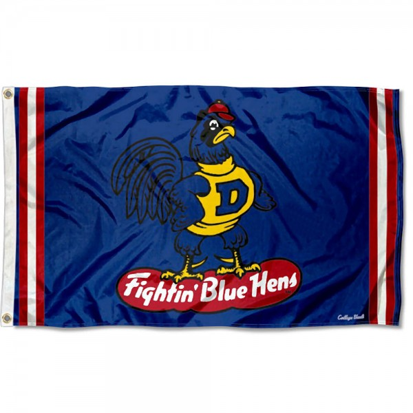 Delaware Blue Hens Throwback Vault Logo Flag measures 3x5 feet, is made of 100% polyester, offers quadruple stitched flyends, has two metal grommets, and offers screen printed NCAA team logos and insignias. Our Delaware Blue Hens Throwback Vault Logo Flag is officially licensed by the selected university and NCAA.