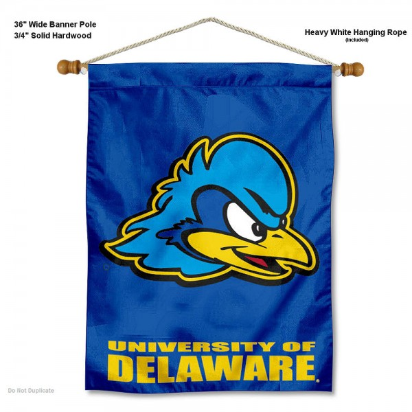 """Delaware Blue Hens Wall Banner is constructed of polyester material, measures a large 30""""x40"""", offers screen printed athletic logos, and includes a sturdy 3/4"""" diameter and 36"""" wide banner pole and hanging cord. Our Delaware Blue Hens Wall Banner is Officially Licensed by the selected college and NCAA."""