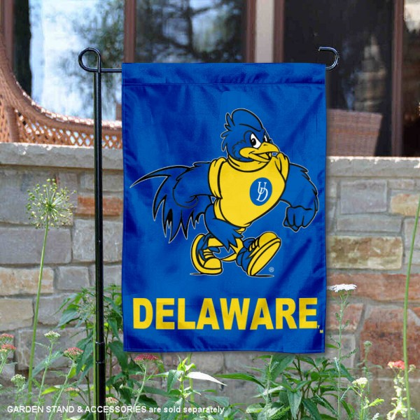 Delaware Blue Hens YoUDee Garden Flag is 13x18 inches in size, is made of 2-layer polyester, screen printed university athletic logos and lettering, and is readable and viewable correctly on both sides. Available same day shipping, our Delaware Blue Hens YoUDee Garden Flag is officially licensed and approved by the university and the NCAA.