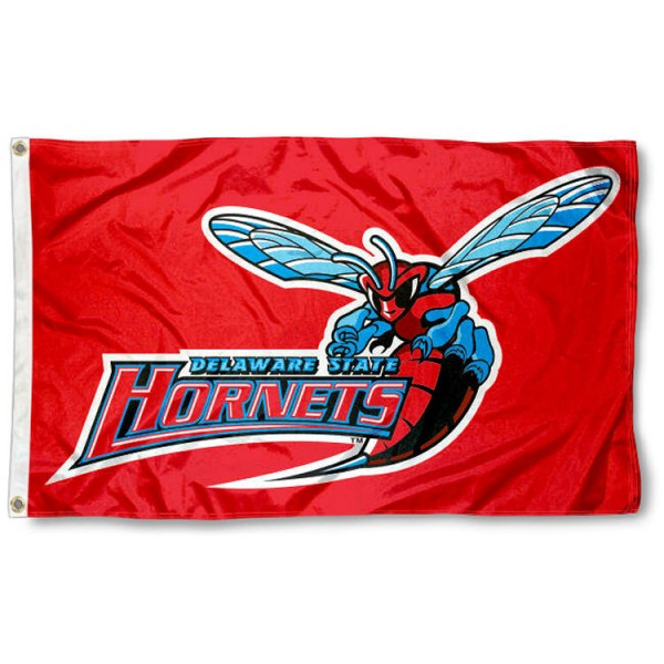Delaware State Hornets Flag is made of 100% nylon, offers quad stitched flyends, measures 3x5 feet, has two metal grommets, and is viewable from both side with the opposite side being a reverse image. Our Delaware State Hornets Flag is officially licensed by the selected college and NCAA