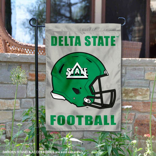 Delta State Statesmen Helmet Yard Garden Flag is 13x18 inches in size, is made of 2-layer polyester with Liner, screen printed university athletic logos and lettering, and is readable and viewable correctly on both sides. Available same day shipping, our Delta State Statesmen Helmet Yard Garden Flag is officially licensed and approved by the university and the NCAA.