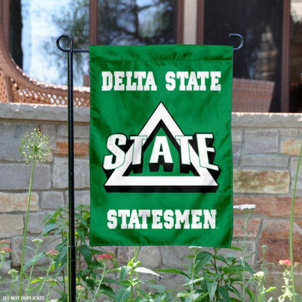 Delta State Statesmen Logo Garden Flag is 13x18 inches in size, is made of 2-layer polyester, screen printed Delta State Statesmen Bay athletic logos and lettering. Available with Same Day Express Shipping, Our Delta State Statesmen Logo Garden Flag is officially licensed and approved by Delta State Statesmen Bay and the NCAA.