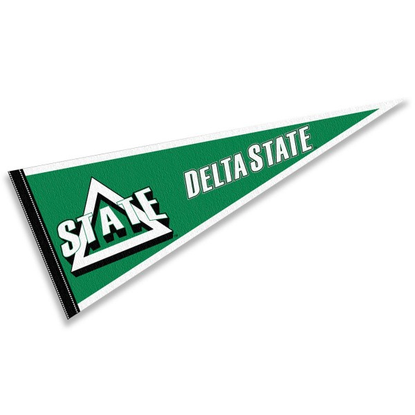 Delta State Statesmen Pennant consists of our full size sports pennant which measures 12x30 inches, is constructed of felt, is single sided imprinted, and offers a pennant sleeve for insertion of a pennant stick, if desired. This Delta State Statesmen Pennant Decorations is Officially Licensed by the selected university and the NCAA.