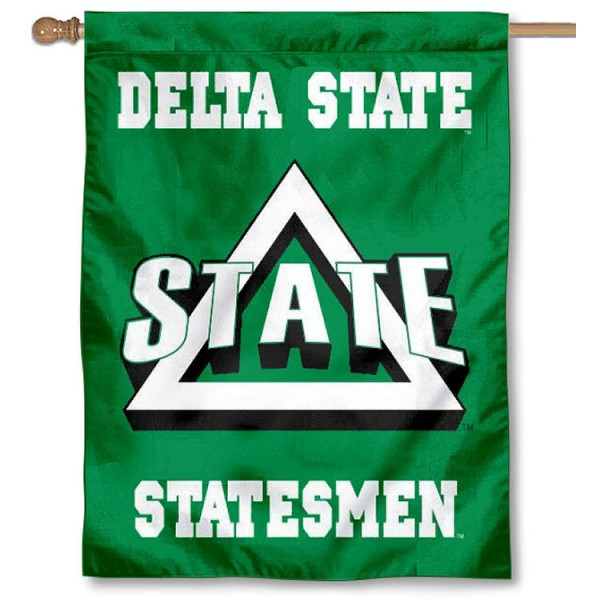 Delta State University Banner Flag is a vertical house flag which measures 30x40 inches, is made of 2 ply 100% polyester, offers dye sublimated NCAA team insignias, and has a top pole sleeve to hang vertically. Our Delta State University Banner Flag is officially licensed by the selected university and the NCAA.
