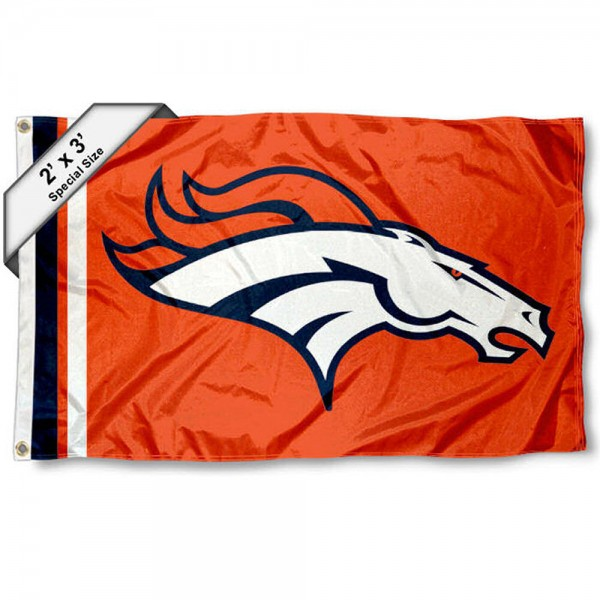 Denver Broncos 2x3 Feet Flag measures 2'x3', is made polyester, has quadruple stitched flyends, two metal grommets, and offers screen printed NFL Denver Broncos logos and insignias. Our Denver Broncos 2x3 Foot Flag is NFL Officially Licensed and approved.