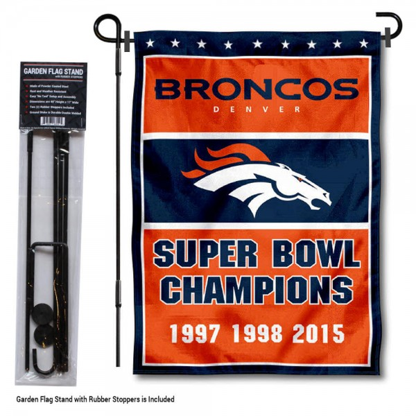 """Denver Broncos 3 Time Champions Garden Banner and Flag Stand kit includes our 13""""x18"""" garden banner which is made of 2 ply poly with liner and has screen printed licensed logos. Also, a 40""""x17"""" inch garden flag stand is included so your Denver Broncos 3 Time Champions Garden Banner and Flag Stand is ready to be displayed with no tools needed for setup. Fast Overnight Shipping is offered and the flag is Officially Licensed and Approved by the selected team."""