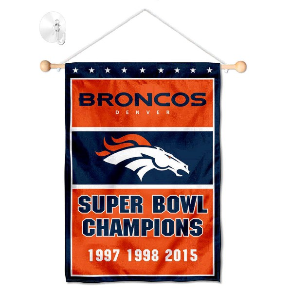 Denver Broncos 3 Time Champions Window and Wall Banner