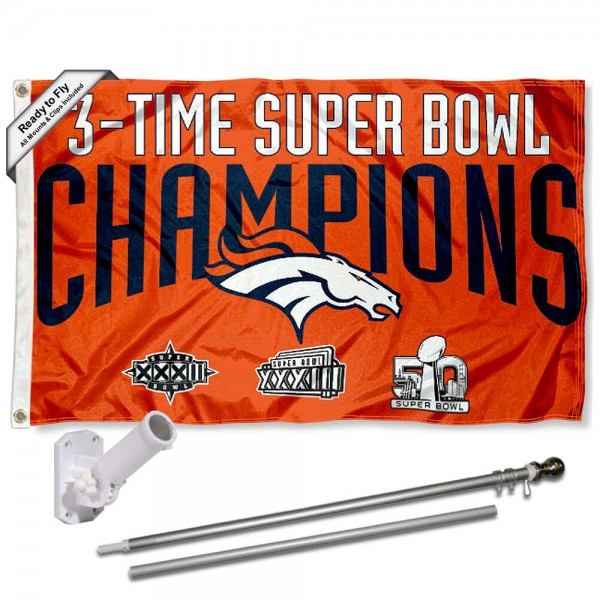 Our Denver Broncos 3 Time Champs Flag Pole and Bracket Kit includes the flag as shown and the recommended flagpole and flag bracket. The flag is made of polyester, has quad-stitched flyends, and the NFL Licensed team logos are double sided screen printed. The flagpole and bracket are made of rust proof aluminum and includes all hardware so this kit is ready to install and fly.