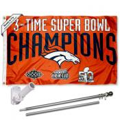 Denver Broncos 3 Time Champs Flag Pole and Bracket Kit