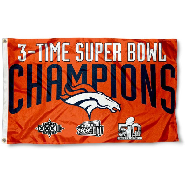 Our Denver Broncos 3 Time Super Bowl Champs Flag is double sided, made of poly, 3'x5', has two metal grommets, indoor or outdoor, and four-stitched fly ends. These Denver Broncos 3 Time Super Bowl Champs Flags are Officially Approved by the Denver Broncos.