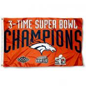 Denver Broncos 3 Time Super Bowl Champs Flag