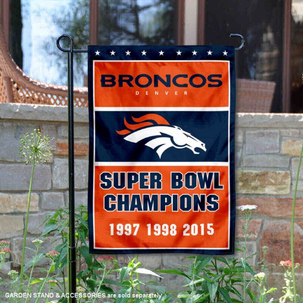 Denver Broncos 3 Time Super Bowl Champs Garden Flag is 12.5x18 inches in size, is made of 2-ply polyester, and has two sided screen printed logos and lettering. Available with Express Next Day Ship, our Denver Broncos 3 Time Super Bowl Champs Garden Flag is NFL Officially Licensed and is double sided.