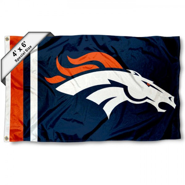 Denver Broncos 4x6 Flag measures a large 4x6 feet, is made polyester, has quadruple stitched flyends, two metal grommets, and offers screen printed NFL Denver Broncos logos and insignias. Our Denver Broncos 4x6 Foot Flag is NFL Officially Licensed and Denver Broncos approved.