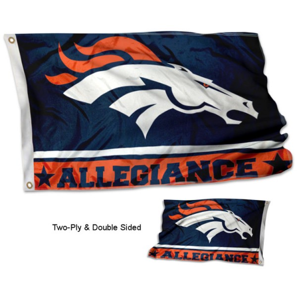 Denver Broncos Allegiance Flag measures 3'x5', is made of 2-ply double sided polyester with liner, has quadruple stitched sewing, two metal grommets, and has two sided team logos. Our Denver Broncos Allegiance Flag is officially licensed by the selected team and the NFL and is available with overnight express shipping.