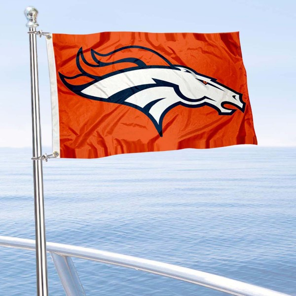 "Our Denver Broncos Boat and Nautical Flag is 12""x18"", made of three-ply poly, has a solid header with two metal grommets, and is double sided. This Boat and Nautical Flag for Denver Broncos is Officially Licensed by the NFL and can also be used as a motorcycle flag, boat flag, golf cart flag, or recreational flag."