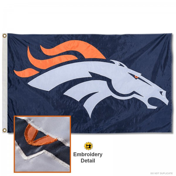 This Denver Broncos Embroidered Nylon Flag is double sided, made of nylon, 3'x5', has two metal grommets, indoor or outdoor, and four-stitched fly ends. These Denver Broncos Embroidered Nylon Flags are Officially Approved the Denver Broncos and NFL.
