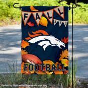 Denver Broncos Fall Football Leaves Decorative Double Sided Garden Flag