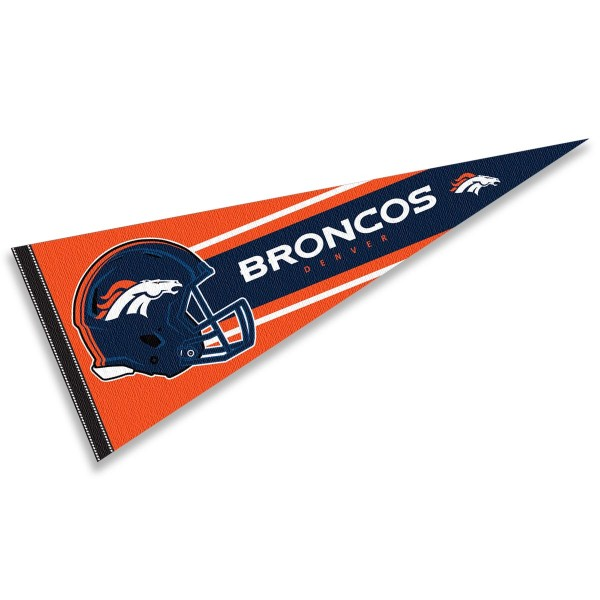 This Denver Broncos Football Pennant measures 12x30 inches, is constructed of felt, and is single sided screen printed with the Denver Broncos logo and helmets. This Denver Broncos Football Pennant is a NFL Officially Licensed product.