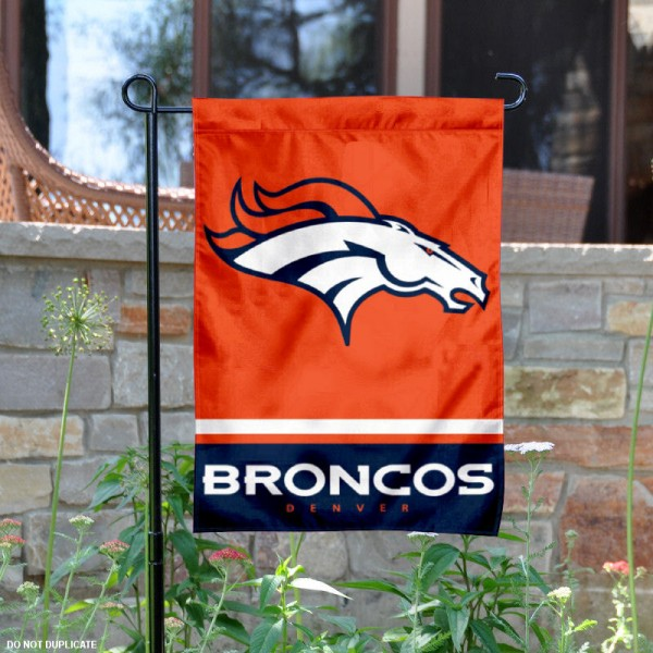 Denver Broncos Garden Flag is 12.5x18 inches in size, is made of 2-ply polyester, and has two sided screen printed logos and lettering. Available with Express Next Day Ship, our Denver Broncos Garden Flag is NFL Officially Licensed and is double sided.
