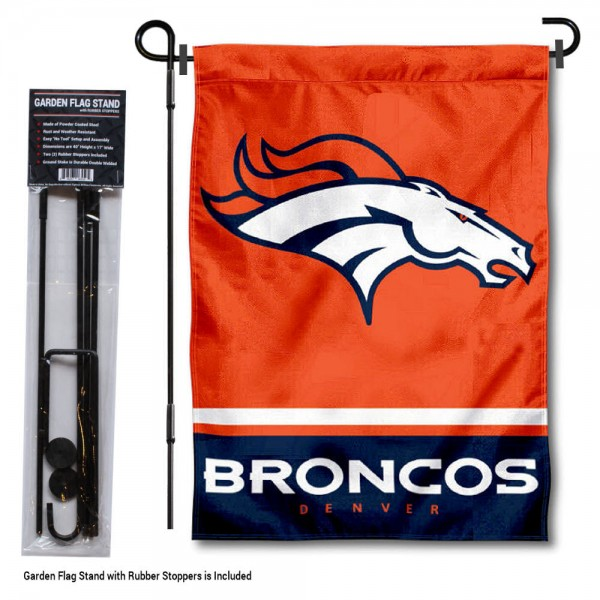 "Denver Broncos Garden Flag and Stand kit includes our 13""x18"" garden banner which is made of 2 ply poly with liner and has screen printed licensed logos. Also, a 40""x17"" inch garden flag stand is included so your Denver Broncos Garden Flag and Stand is ready to be displayed with no tools needed for setup. Fast Overnight Shipping is offered and the flag is Officially Licensed and Approved by the selected team."