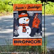 Denver Broncos Holiday Winter Snow Double Sided Garden Flag
