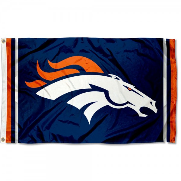 Our Denver Broncos Logo Flag is double sided, made of poly, 3'x5', has two metal grommets, indoor or outdoor, and four-stitched fly ends. These Denver Broncos Logo Flags are Officially Licensed by the NFL.