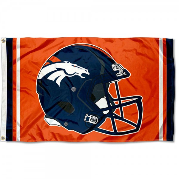 Our Denver Broncos New Helmet Flag is two sided, made of poly, 3'x5', Overnight Shipping, has two metal grommets, indoor or outdoor, and four-stitched fly ends. These Denver Broncos New Helmet Flags are Officially Approved by the Denver Broncos.