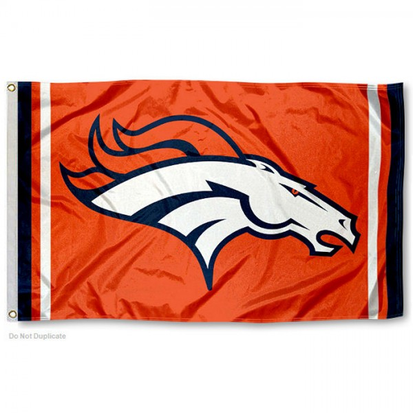 Our Denver Broncos Orange Flag is double sided, made of poly, 3'x5', has two metal grommets, indoor or outdoor, and four-stitched fly ends. These Denver Broncos Orange Flags are Officially Approved by the Denver Broncos.