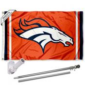 Denver Broncos Orange Flag Pole and Bracket Kit