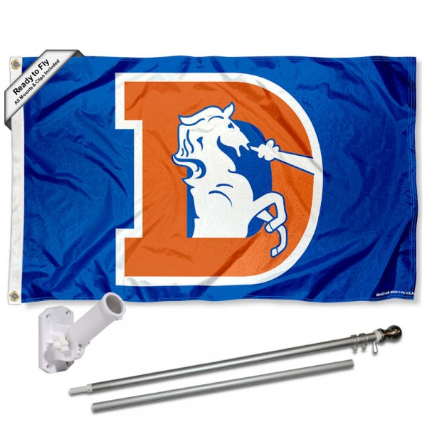 Our Denver Broncos Retro Flag Pole and Bracket Kit includes the flag as shown and the recommended flagpole and flag bracket. The flag is made of polyester, has quad-stitched flyends, and the NFL Licensed team logos are double sided screen printed. The flagpole and bracket are made of rust proof aluminum and includes all hardware so this kit is ready to install and fly.